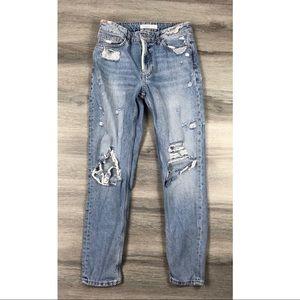 Zara 4 boyfriend jeans distressed ripped denim